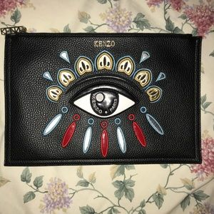 Kenzo eye patch leather zip pouch